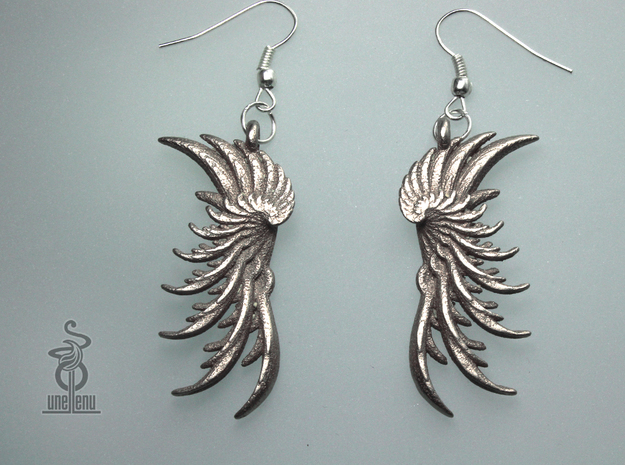 Image of 3D printed 'Wings' Earrings designed by unellenu