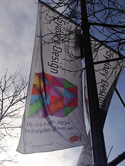 Image of street banner advertising the Sydney Design Festival 2014