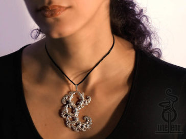 Image of Fractal lace pendant designed by unellenu 3D printed by Shapeways
