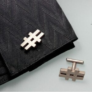 Hashtag Cufflinks – Stainless Steel