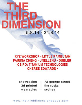 Advertisement for The Third Dimension Pop Up Shop 2014 featuring unellenu