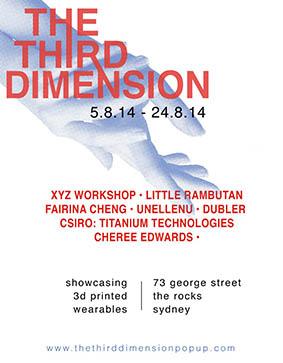 Advertisement for The Third Dimension Pop Up Shop 2014 featuring unellenu