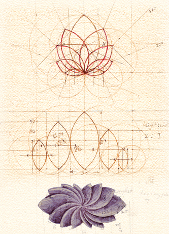 Image of Hand drawn geometric petals vesica