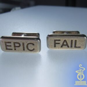 Image of unellenu Epic Fail cufflinks in stainless silver